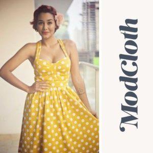 MODCLOTH Myrtlewood of California Polka Dot Dress